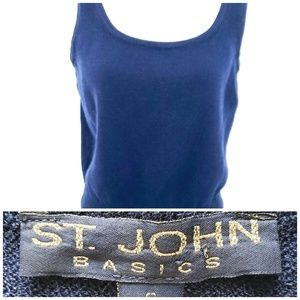 St. John Basics Navy Blue Knit Sweater Tank